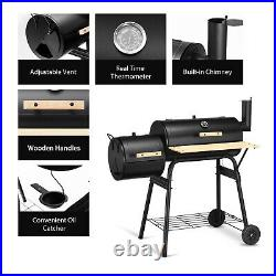Outdoor BBQ Grill Charcoal Barbecue Steel Pit Patio Backyard Meat Cooker Smoker