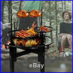 Outdoor BBQ Rotisserie Barbecue Grill Charcoal Wood Roast Stove Fire Pit Bowl