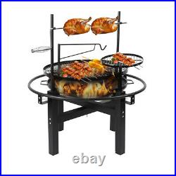 Outdoor Charcoal BBQ Grill with Rotisserie Barbecue Hot Spit Roast Fire Pit Bowl