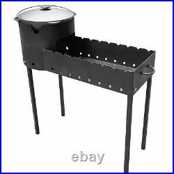 Outdoor kitchen charcoal grill Mangal + Uchag + swivel pot cast iron Plow BBQ