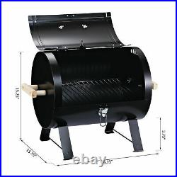 Outsunny 20 Portable Outdoor Camping Charcoal Barbecue Grill with Wooden Handles