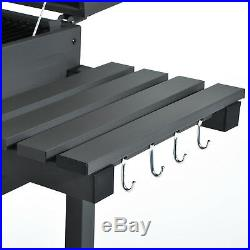Outsunny Charcoal Grill BBQ Barbecue Trolley Garden Backyard With Shelves Wheels