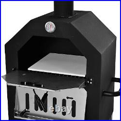 Outsunny Outdoor Pizza Oven Charcoal BBQ Grill 2-Tier Freestanding with Chimney