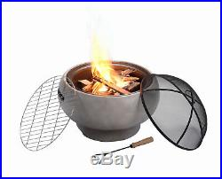 Peaktop Outdoor Round Concrete Wood Burning Fire Pit with Charcoal Grill, BBQ G