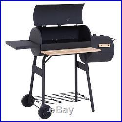 Portable Charcoal BBQ Grill Steel Offset Smoker Combo Backyard