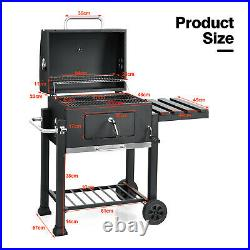 Portable Charcoal Grill withWarming & Cooking Area BBQ Offset Smoker Combo withWheel