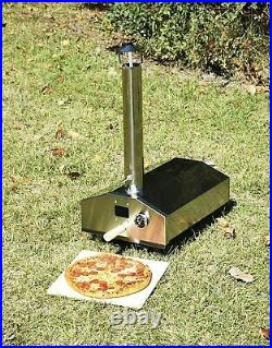 Portable Mini Wood Fired Pizza Oven Pellet Charcoal Grill Outdoor BBQ Camping