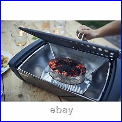 Premium Aurora Mirror Smokeless Charcoal BBQ Grill with Fan Dark Grey