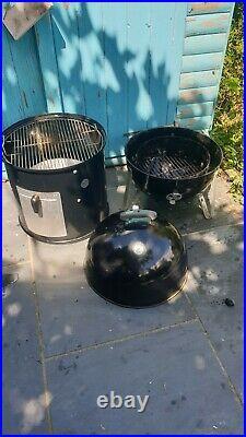 Rare Weber Smokey Mountain 47cm bbq grill smoker + weber cover. RRP £450