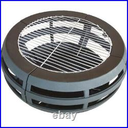 Round Fire Pit With BBQ Grill Outdoor Garden Heater Patio Decor Brazier 500