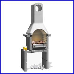 Santander brick barbecue in refractory concrete 76x43x195.5 cm with grill