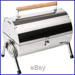 Stainless steel BBQ grill portable charcoal table-top foldable camping picnic