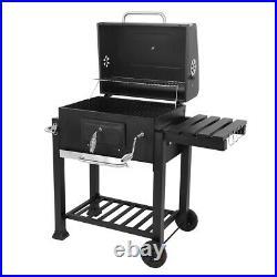 Uk Charcoal Grill BBQ Trolley Wheels Garden Smoker Shelf Side Steel Black