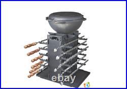 Vertical Mangal 12 BBQ Portable Grill Steel Picnic Brazier Shashlik Kebab