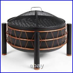 VonHaus Black & Copper Fire Pit Converts to BBQ/Grill Round Freestanding