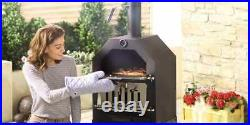 Wood Charcoal Pizza Oven Grill BBQ Smoker on wheels Outdoor Garden UK NEW Boxed