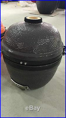 YNNI KAMADO 14 inch Limited Edition Grey Oven BBQ Grill Egg with Stand TQ0014GY
