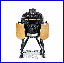 YNNI KAMADO 20 inch Black Large Oven BBQ Grill Egg Stand and Sidetables TQ0020BL