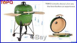 YNNI KAMADO 25 BLACK XL Chip Feeder Kamado Oven BBQ Grill incTrolley TQ0C25BL