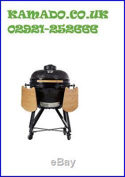 YNNI KAMADO 25 RED XL Chip Feeder Kamado Oven BBQ Grill incTrolley TQ0C25RE