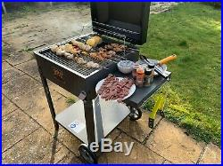 Yakoe Charcoal Bbq Grill Large Outdoor Barbeque Garden Smoker & Thermometer