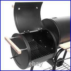 ZOKOP Portable Charcoal BBQ Grill Steel Offset Smoker Combo Backyard WithWheels UK